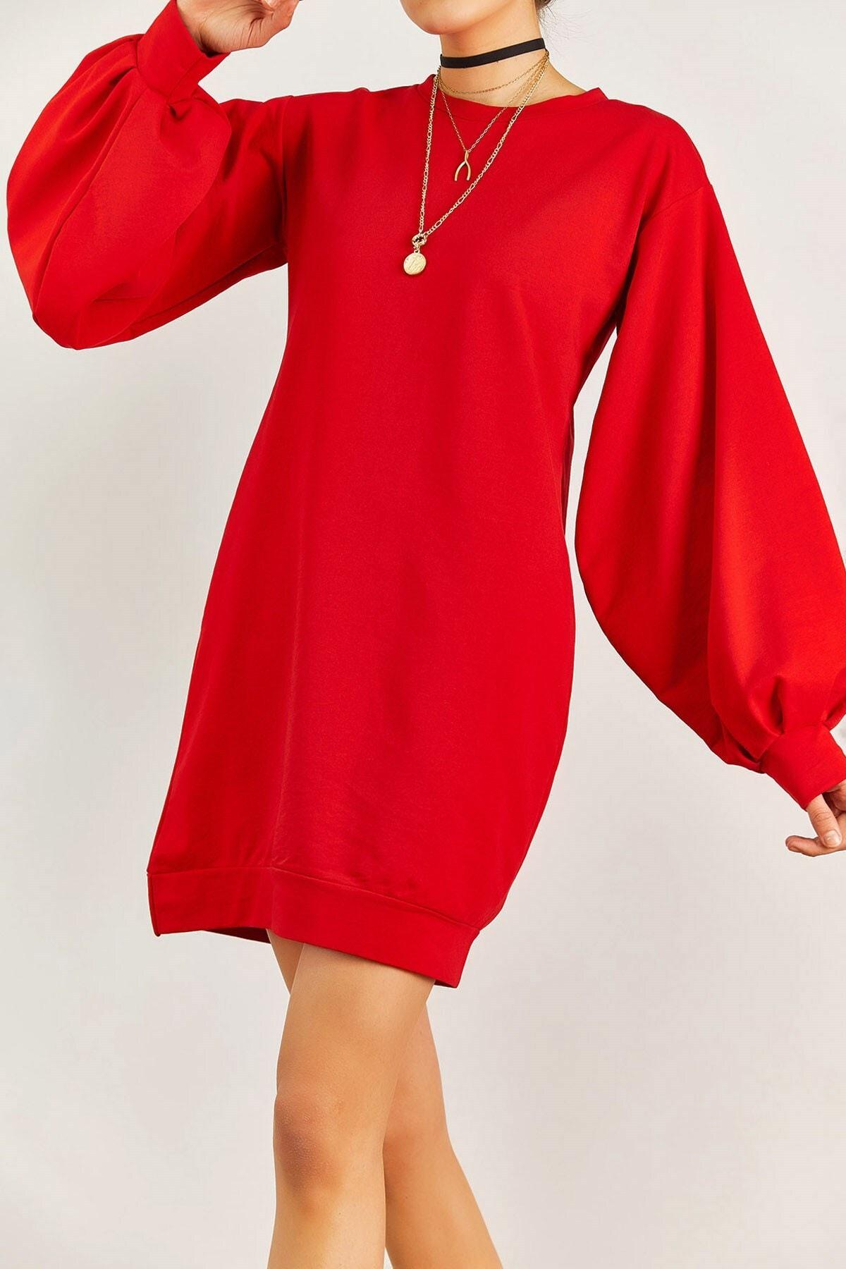 Boutiquen Kadın Kırmızı Balon Kol Elbise 2188