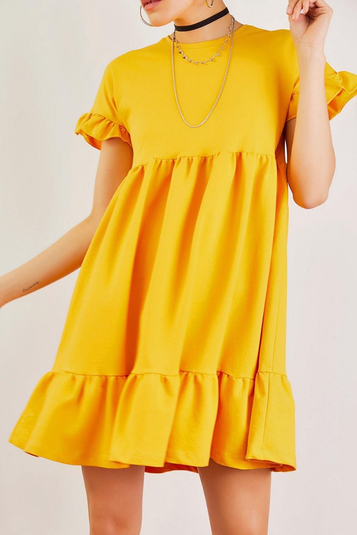 Boutiquen Kadın Hardal Eteği Ve Kolu Büzgülü Elbise 12215