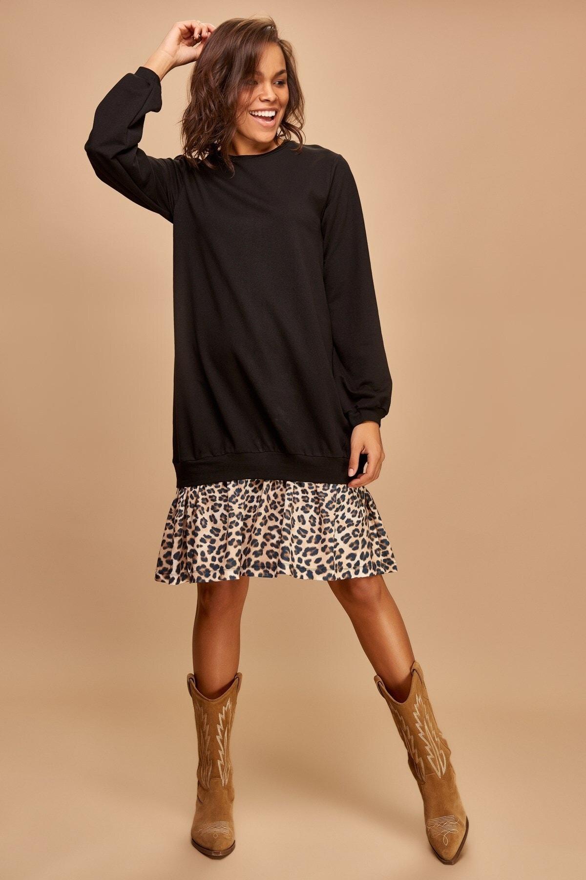 Boutiquen Kadın Siyah Altı Leopar Detaylı Sweat Elbise 2195