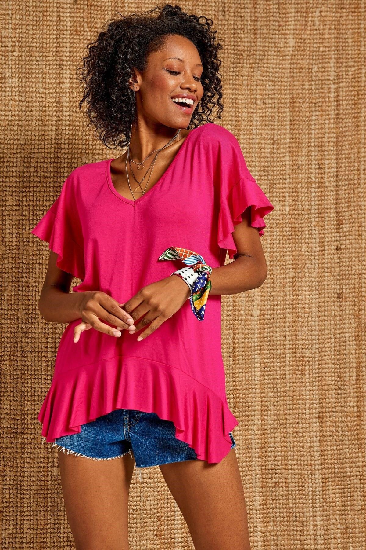 Boutiquen Kadın Fuşya V Yaka Volan Detaylı Bluz 1194