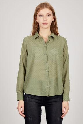 Manche Kadın Haki Puantiyeli Gömlek