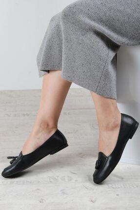 Fast Step Hakiki Deri Siyah Kadın Babet Ayakkabı 064za3004