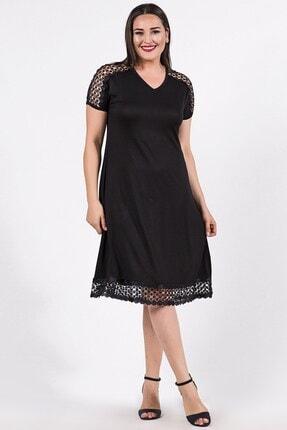 Womenice Büyük Beden Siyah Omuzu Eteği File Desenli Elbise