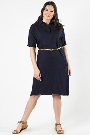 Womenice Büyük Beden Lacivert Yaka Düğmeli Elbise