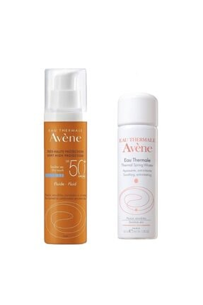 Avène Fluid Spf 50+ Dry Touch 50 Ml + Eau Thermal Spring Water 50 Ml Termal Su