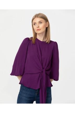 Seçil Kadın Mor Bağlama Detaylı Bluz