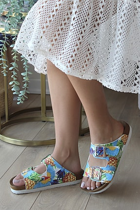 Pembe Potin Kadın Mavi Ananas Desenli Sandalet