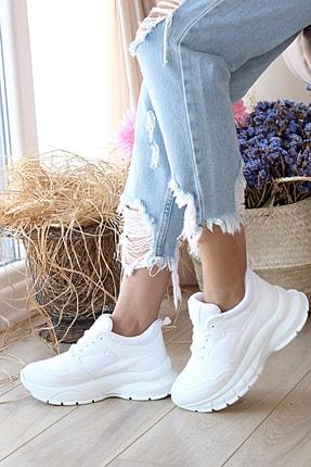 Pembe Potin Kadın Beyaz Spor Ayakkabı