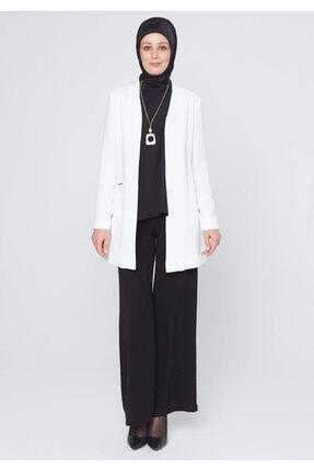 Setrms Kadın Ekru Krep Kumaş Yakasız Blazer Ceket
