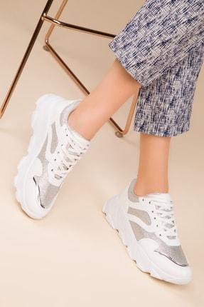 SOHO Beyaz-Gumus Sım Kadın Sneaker 15208