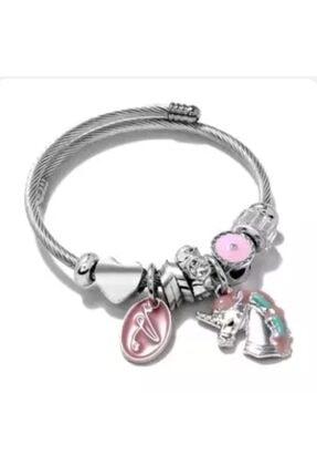 Pandora Pembe At Charmlı Gümüş Tarzı Şık Bileklik