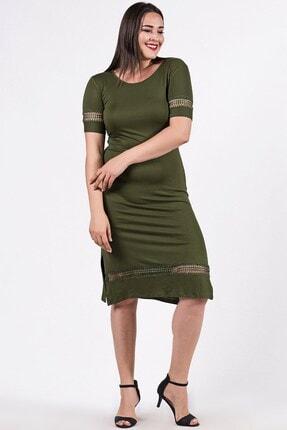 Womenice Büyük Beden Haki Kolu Eteği Yırtmaçlı Elbise