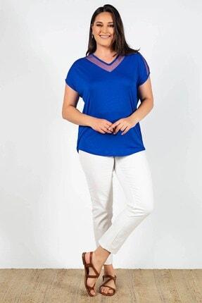 Womenice Kadın Mavi Büyük Beden Yakası Kolu Tüllü Bluz
