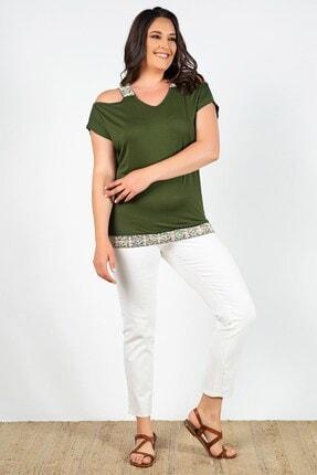 Womenice Kadın Haki Omuzları Açık Çiçek Desenli Bluz