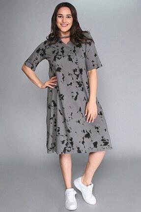 Womenice Büyük Beden Gri Yaka V Pencere Baskılı Elbise