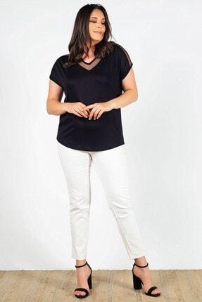 Womenice Kadın  Siyah Yakası Kolu Tüllü Bluz