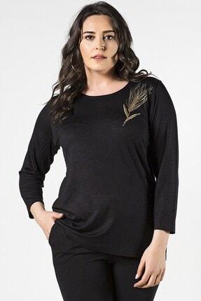 Womenice Kadın Siyah Büyük Beden Çiçekli Bluz