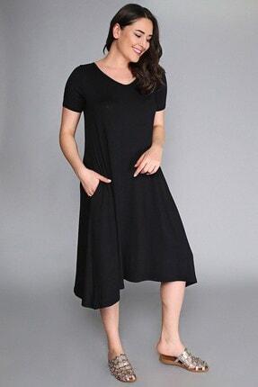 Womenice Kadın Siyah Sırt Pul Payet Dekolte Elbise