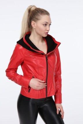 Kadın Kırmızı Deri Ceket Zg7071 VZG7071000036