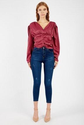 Manche Kadın Lacivert Taşlanmış Yüksek Bel Dar Paça Pantolon | Mk20s460014