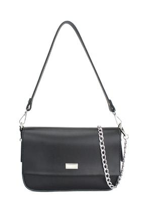 Housebags Kadın Siyah Zincir Detaylı Kapaklı Çanta 178
