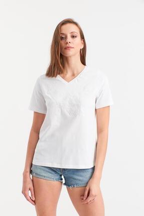 Hanna's Kadın Beyaz V Yaka Kolu Fırfırlı Bluz