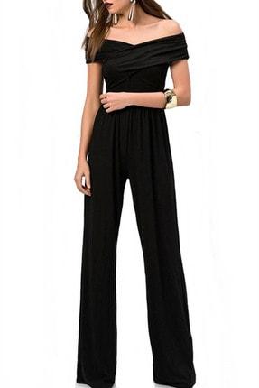 Boutiquen Kadın Siyah Siyah Viskon Tulum 2235