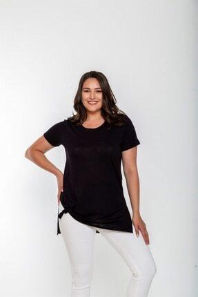 Seamoda Yuvarlak Yaka Yırtmaçlı Süprem Basic Tshirt-siyah