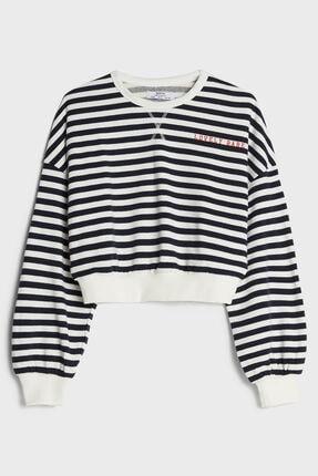 Bershka Kadın Beyaz Baskılı Sweatshirt