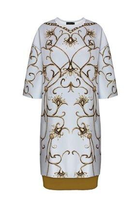 Faberlic Kadın Gri Yarım Kollu Monogram Elbise 46 Beden