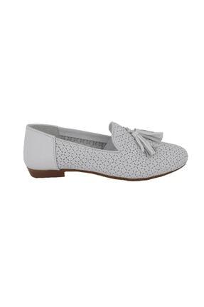 Hobby Beyaz Deri Kadın Babet Ayakkabı 2806