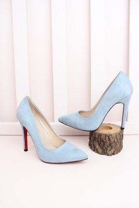Shoes Time Kadın Mavi İnce Topuk Ayakkabı