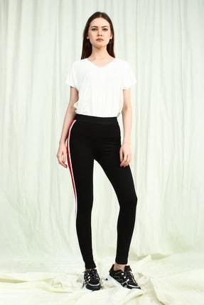 Collezione Siyah Yanı Şeritli Kadın Uzun Tayt