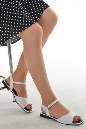 Ayakland Kadın Beyaz Suni Deri Sandalet