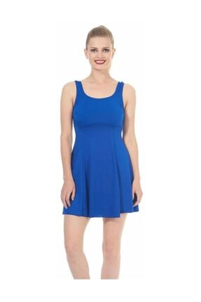 ESTİVA Kadın Mavi Askılı Etekli Elbise Mayo 1608