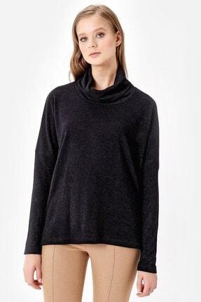 Jument Kadın Siyah Degaje Yaka Uzun Kol Salaş Bluz