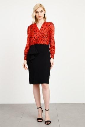 Moda İlgi Modailgi Kruvaze Empirme Volan Detaylı Elbise Kırmızı