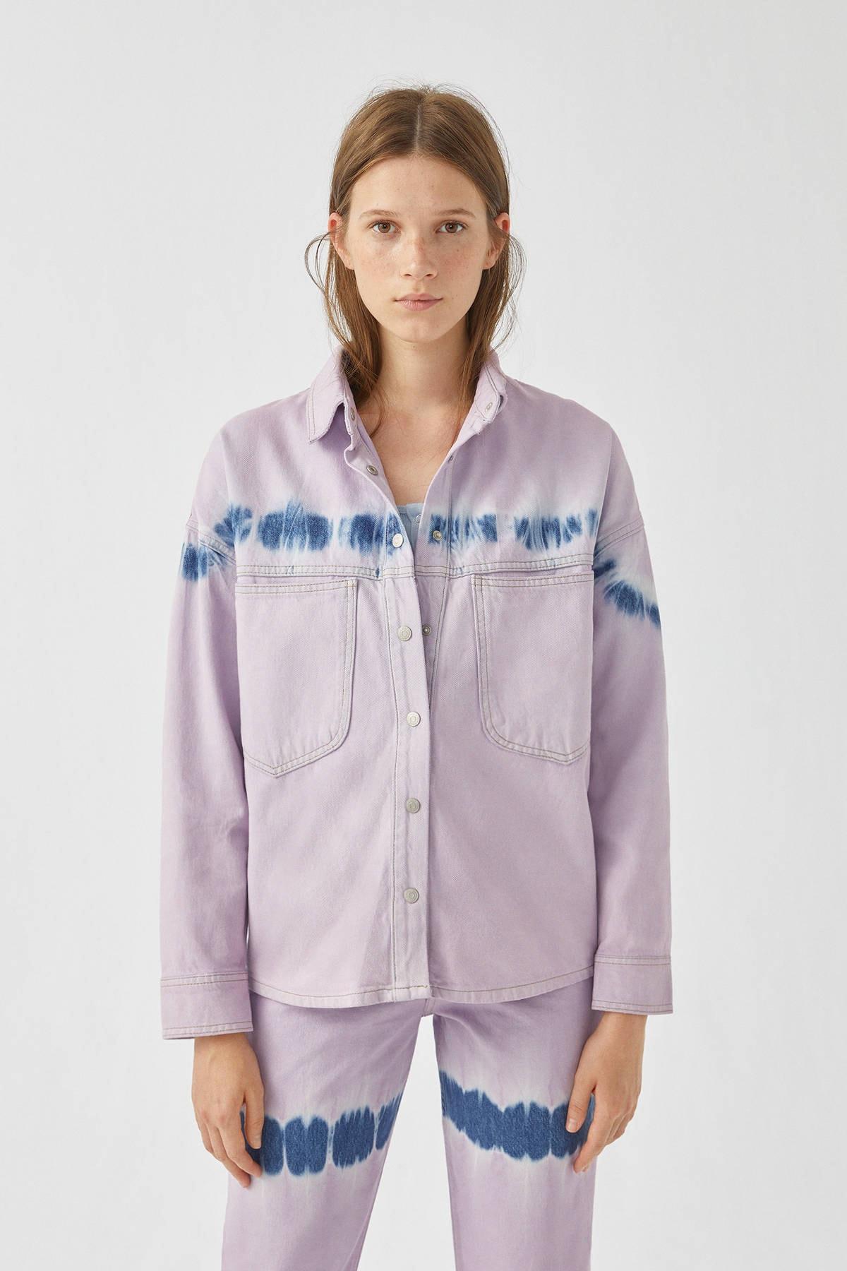 Pull & Bear Kadın Leylak Lila Batik Desenli Gömlek 09470302