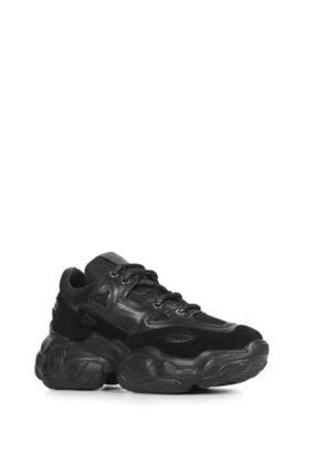 İlvi Miranda Kadın Spor Ayakkabı Siyah Deri Siyah Süet