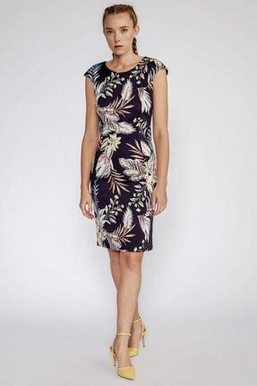 Perspective Kadın Lacivert Gilbert Desenli Sırtı Fermuar Kapamalı Elbise