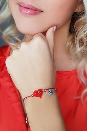 VAOOV Kadın Kırmızı El Yapımı Murano Camı Nazarlı Kalp Bileklik