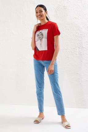 Setre Kırmızı Bisiklet Yaka Kısa Kol Baskılı T-shirt