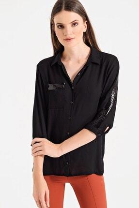 Jument Kadın Siyah Bürümcük Yakalı Capri Kol Gömlek