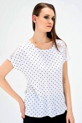 Jument Kadın Beyaz Puan Desen Tül Detaylı Yazlık Rahat Kesim Bluz
