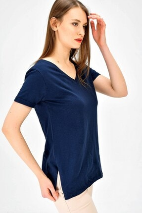 Jument Kadın Lacivert V Yaka Kısa Duble Kol Bluz