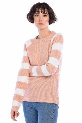 Cotton Mood Kadın Pudra Triko Yumoş İp Kolu Çizgi Garnili Reglan Kol Kazak 8516161