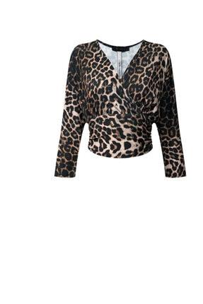 RİVUS Kadın Kahverengi V Yaka Arkadan Bağlamalı Leopar Desenli Bluz