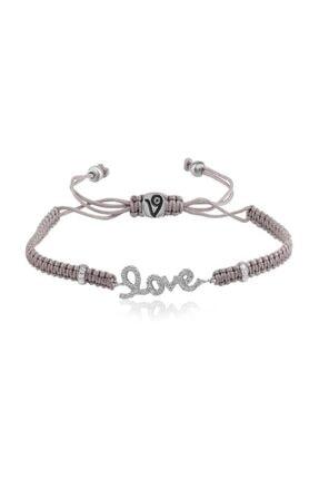 Coşar Silver Makrome Love Yazılı Ipli Bileklik