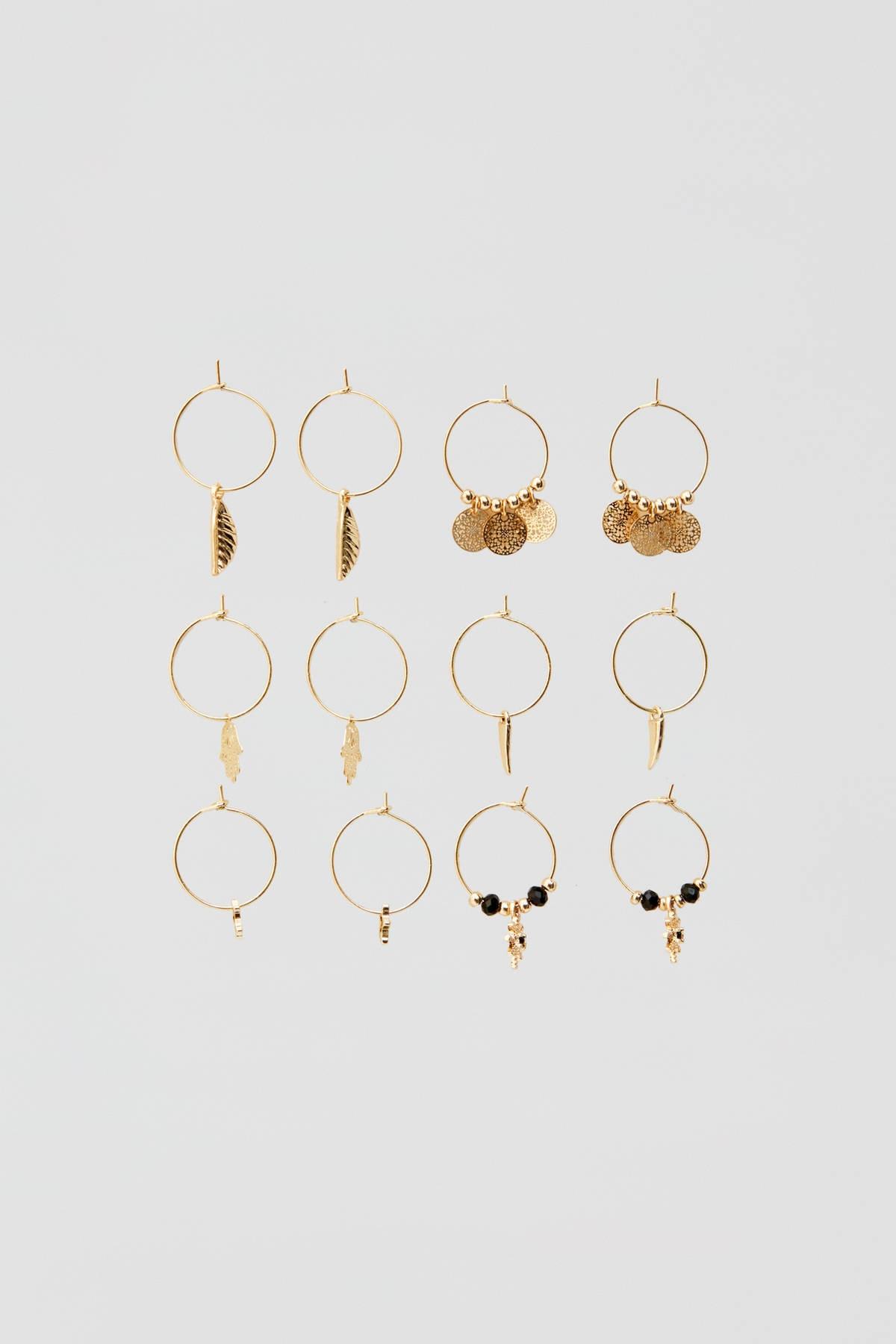 Pull & Bear Kadın Altın Rengi Uçlu Halka Küpe Seti 09996322