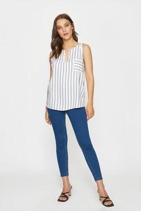 Batik Kadın Lacivert Beyaz Casual Bluz